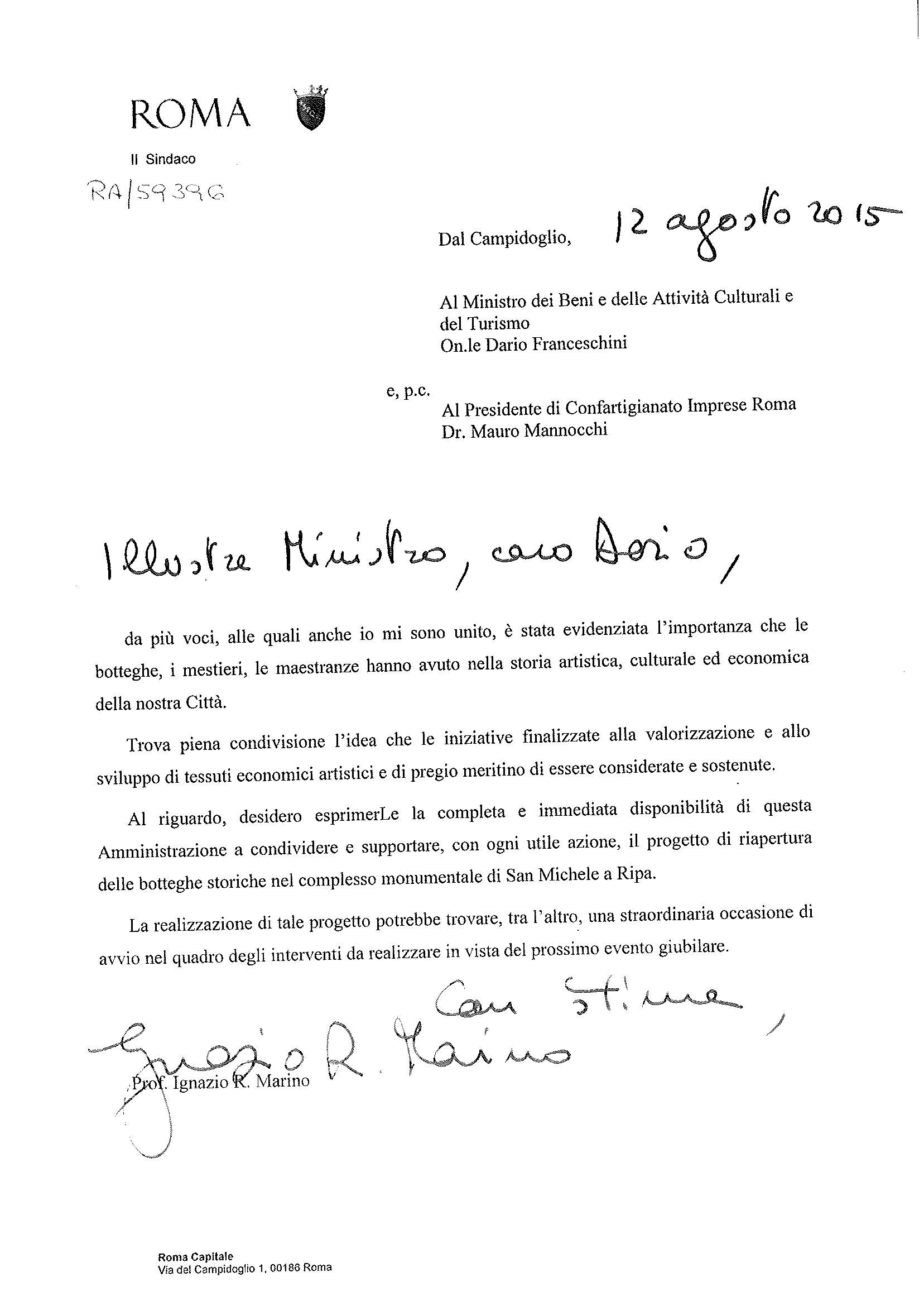 Lettera Marino a Franceschini su San Michele