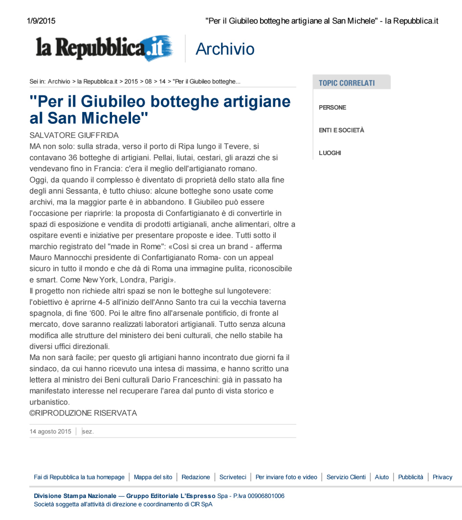 """""""Per il Giubileo bottegh...ele"""" - la Repubblica.it"""