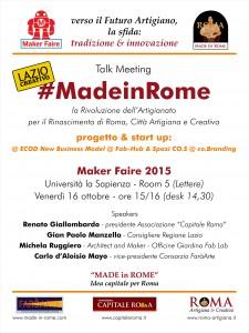 Talk MF15 - #Made in Rome, progetto e start up