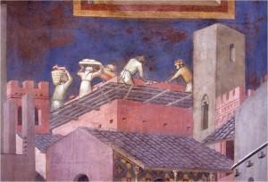Effetto del Buon Governo, i muratori lavorano - Ambrogio Lorenzetti - Siena